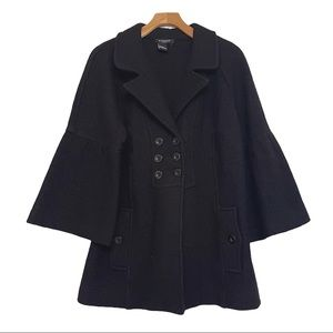Sandro Sportswear Black 100% Wool Bell Sleeve Coat